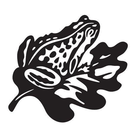 anuran: black frog - vector illustration