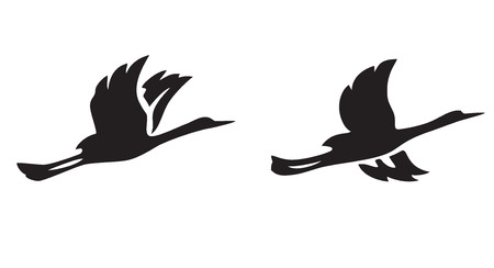 black silhouettes of flying birds - vector illustration