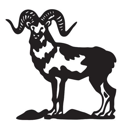 ram - black silhouette Illustration