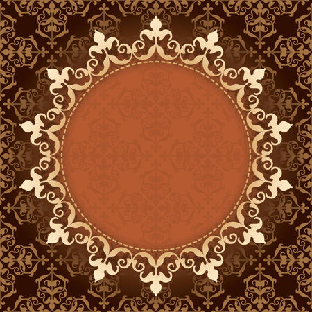 quadratic: marrone vintage background vettoriale con cornice d'oro