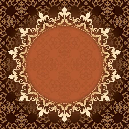 quadratic: vector de fondo marr�n de la vendimia con marco de oro Vectores