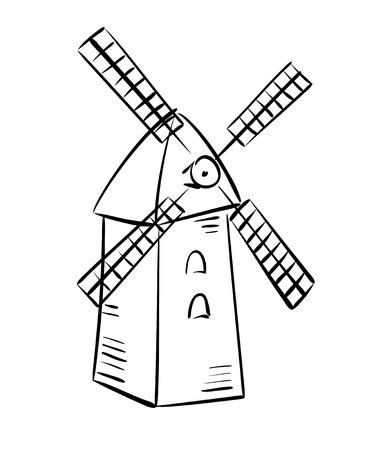 airscrew: rural mill - vector sketch