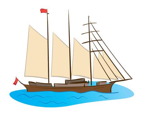 barque: color sailing ship - vector