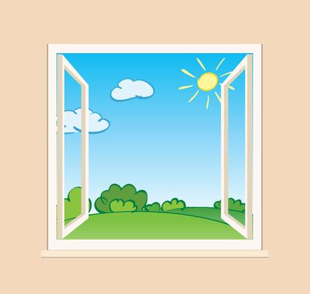 open raam met groene natuur buiten - vector illustratie