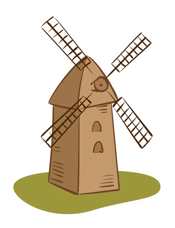 grind: vector rural mill - illustration Illustration