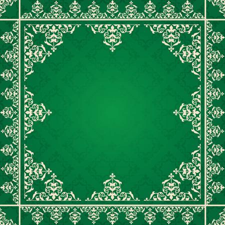 quadratic: ornamento �rabe sobre fondo verde - vector