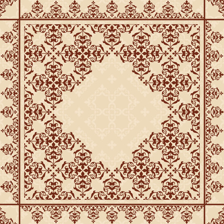 quadratic: quadratic background with vintage ornament - vector