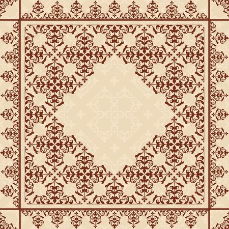 quadratic: Sfondo quadratica con ornamento vintage - vettoriale
