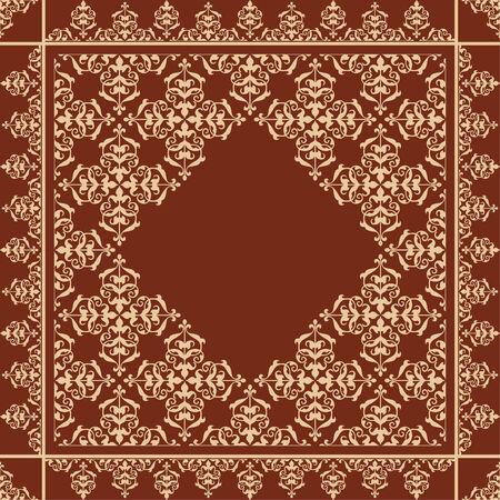 quadratic: fondo marr�n cuadr�tica con adornos de �poca de color beige - vector