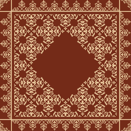 quadratic: quadratic brown background with beige vintage ornament - vector Illustration