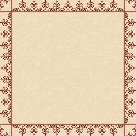 quadratic: sfondo floreale beige con cornice ornamentale - vettore