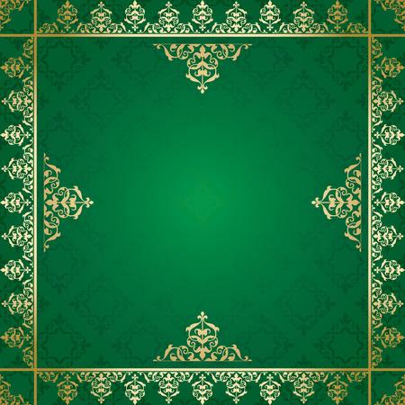 quadratic: fondo verde con adornos de oro victoriana