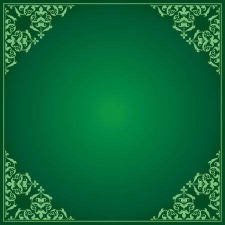 quadratic: sfondo verde chiaro e scuro con ornamento in angoli - vettore