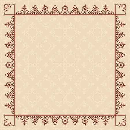quadratic: quadratic beige card with vintage frame - vector