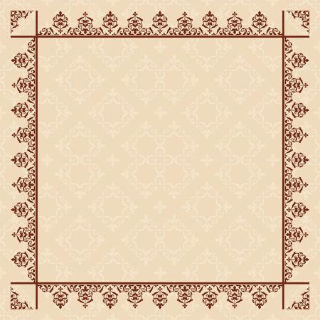 quadratic: tarjeta de color beige cuadr�tica con marco de la vendimia - vector
