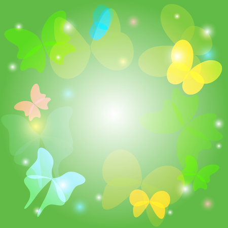 green background with transparent butterflies