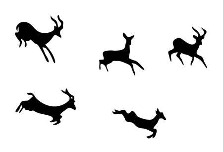 ibex ram: vector set - silhouettes of mountain goats