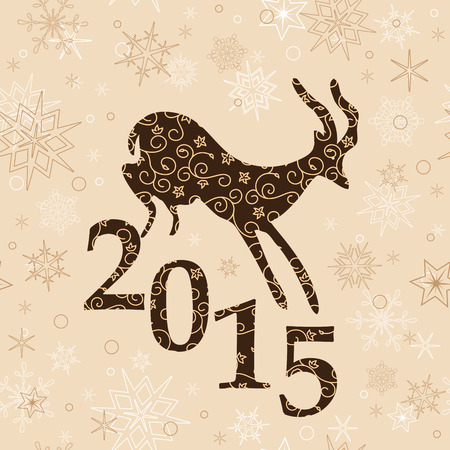 ibex ram: beige christmas background with goat and 2015 - vector