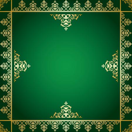 quadratic: fondo verde con adornos de oro victoriana - vector Vectores
