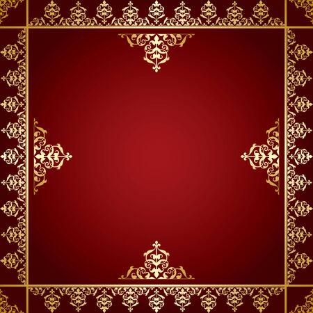 quadratic: fondo rojo con el ornamento de oro victoriana - vector Vectores