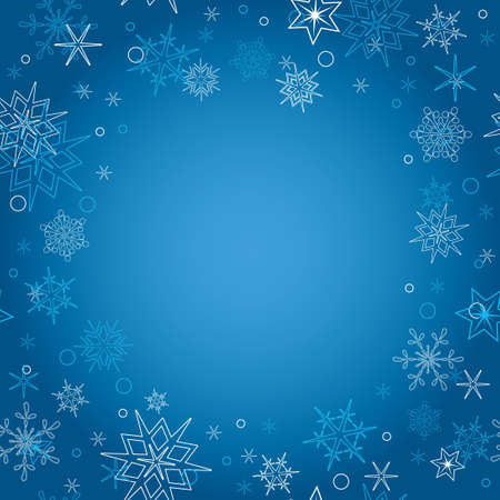 blue christmas: background - vector blue christmas card with snowflakes