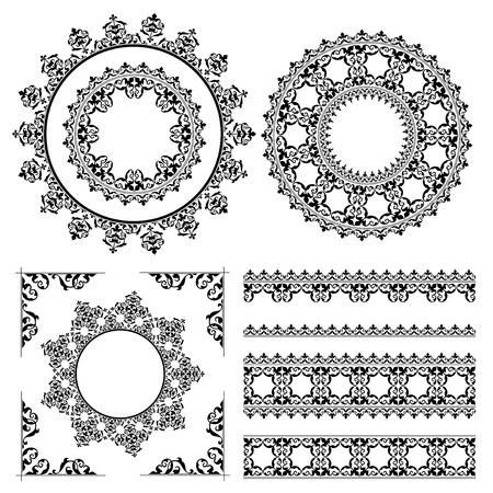 quadratic: ornamenti d'epoca e cornici - vettore impostata. Eps 8.