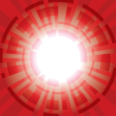 red abstract background: red abstract background with radial rays - vector