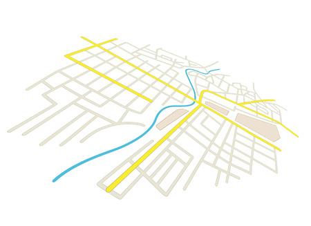 Rues sur le plan de la ville - vecteur en perspective Banque d'images - 33566657