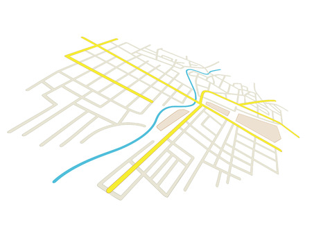 streets on the city plan - vector in perspective