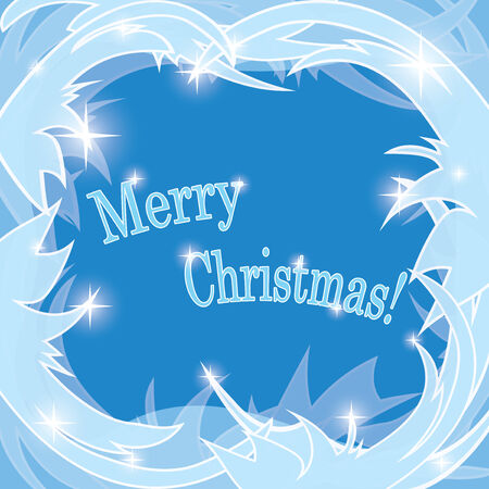 hoar frost: blue frosty background - merry christmas - vector