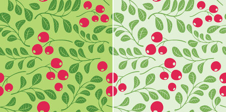 foxberry: light green pattern with berries - seamless vector