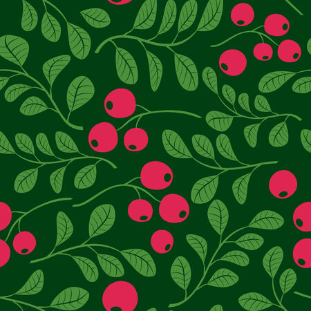 cowberry: seamless dark green pattern with berries - vector