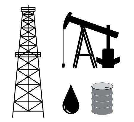 benzin: oil derrick with pump and barrel - vector set