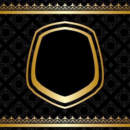 docket: golden frame and decorations on black background - vector