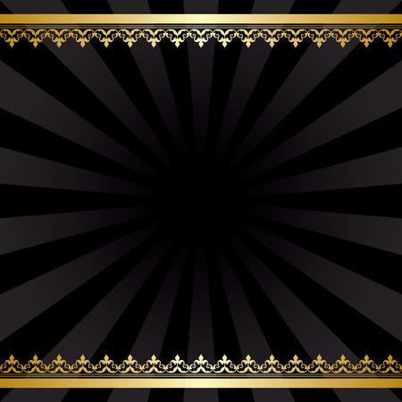 Arrière-plan avec des décorations d'or et rayons - noir carte vecteur vieux Banque d'images - 34479967