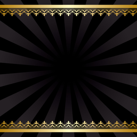 background with gold decorations and rays - black vintage vector card