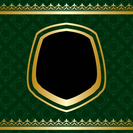 tally: golden ornament on green ornamental background - vector