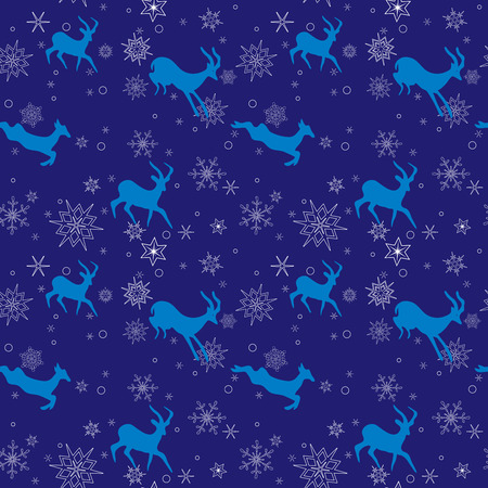 ibex ram: dark blue seamless christmas pattern with blue goats - vector Illustration