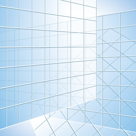 pane: transparent vector wall - blue windows - eps 10
