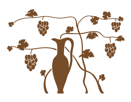 viticulture: vine bush with a jug  Illustration