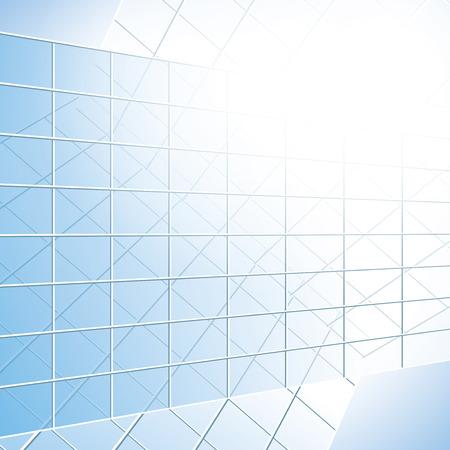facade: glass vector windows on blue facade