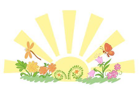 fauna: sun with flora and fauna - vector illustration Illustration