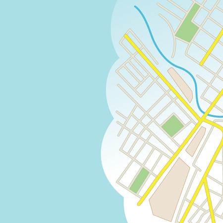 avenue: blue background with part of city map - vector Illustration