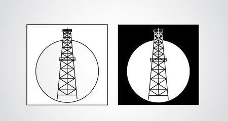 benzin: black and white oil rigs - vector Illustration