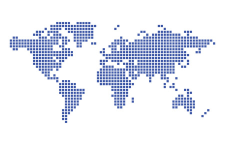 dark blue map of world - vector squares