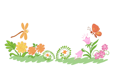 summer nature: summer nature flowers and plants - vector Illustration