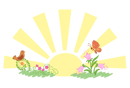 summer nature: sunrise and summer nature - vector