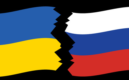crack: flags of Ukraine and Russia - crack - vector Illustration