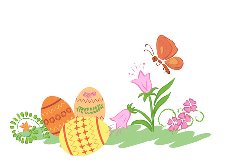 rosy: easter eggs with flowers and butterfly - vector