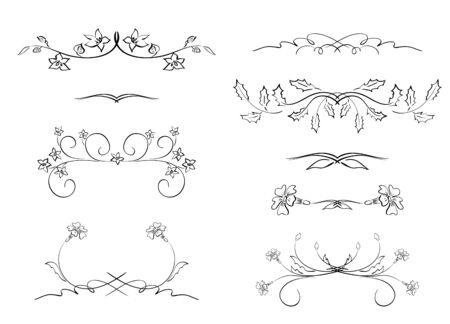 dividers: black floral dividers - vector set